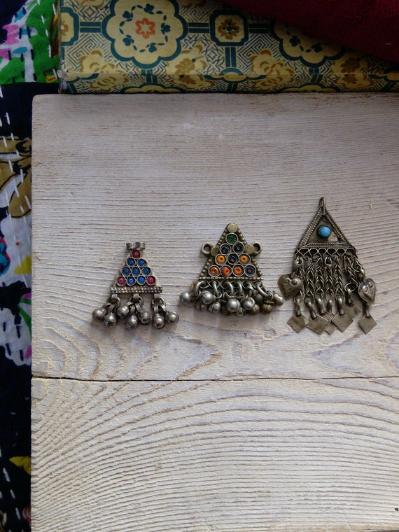 3x Small Triangular Pendants Mix Set Afghan Tribal Jewelry (#7367)