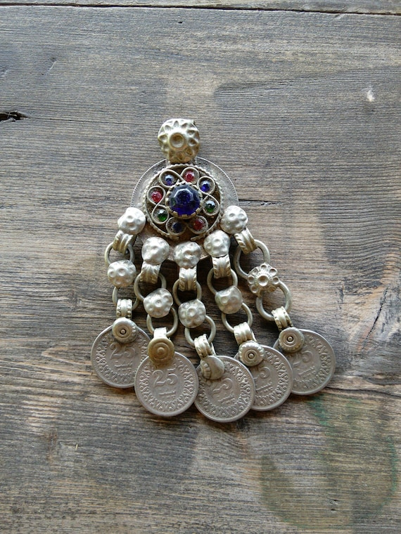 Tribal Pendant Coin Dangles DIY Vintage Jewelry Supplies (#6516)