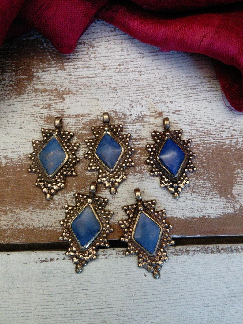 Diamond Shaped Tribal Pendants Brass with BLUE Stone 1.38 5 Pieces