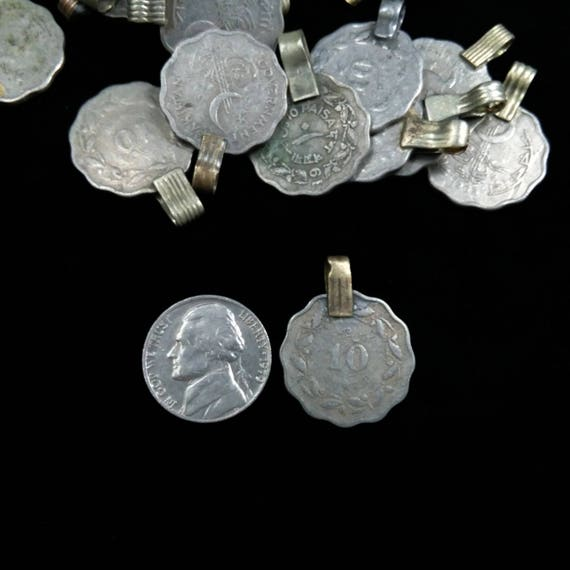 25x Vintage Tribal Kuchi Coins Scalloped Edges DIY Supplies .8/""