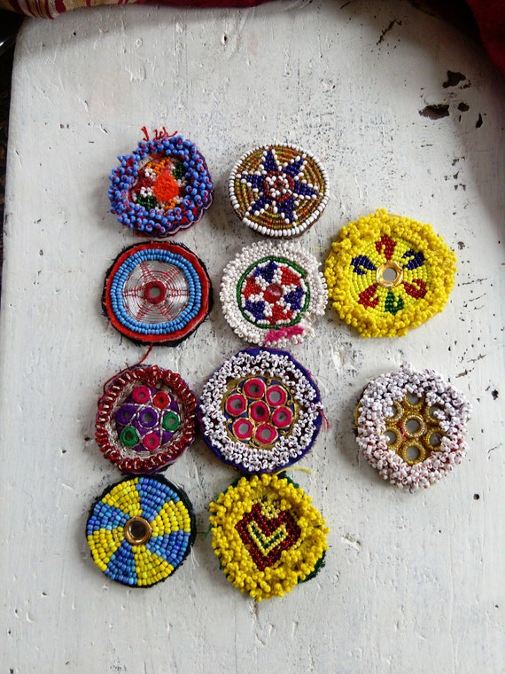 Kuchi Tribal Beaded Medallions Gul Patches 10 Pieces Mixed
