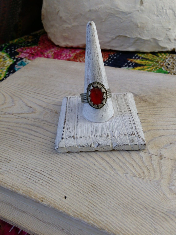 Vintage Kuchi Tribal Jewelry Afghan Ring Red Glass Size 12 US (#7373)