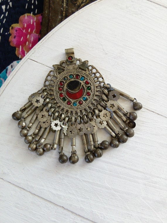 Vintage Tribal Jewelry Pendant Wazir Crescent Moon (#7303)