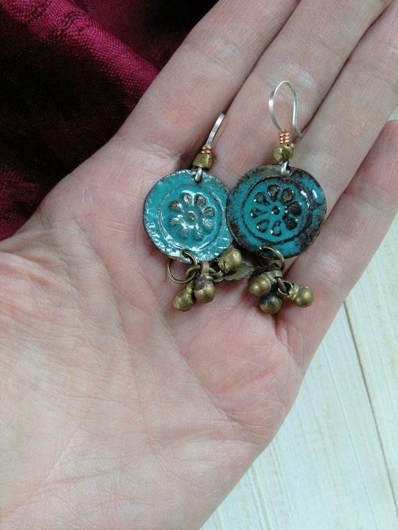 Torch Fired Enamel Earrings Old Findings Rustic Jewelry (#6768)