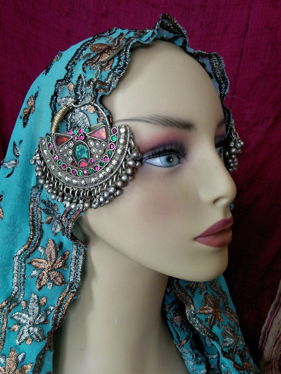 Vintage Kuchi Headdress Pendants Green Crescent Moon Tribal Jewelry Adornment (#7248)