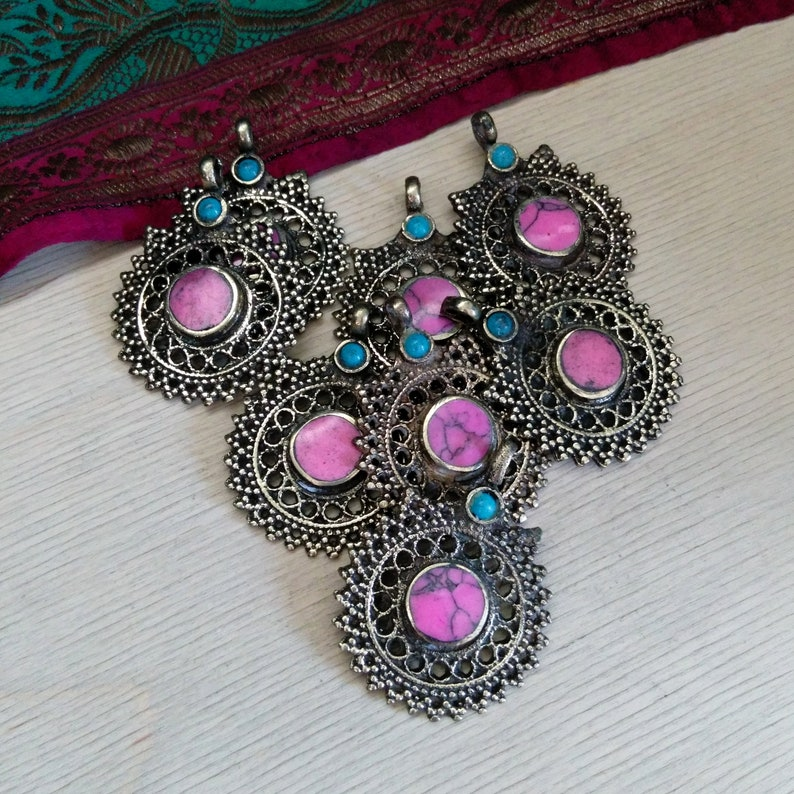 5 Tribal Pendants PINK Stone Setting 1.6