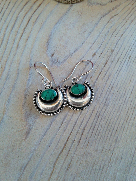 Crescent Moon Silver-Tone Brass Earrings with Malachite (#7053)