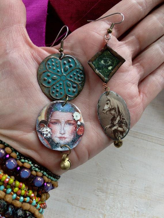 Torch Fired Asymmetrical Talisman Earrings Amalgamation