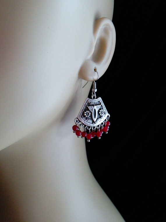 Boho Earrings Silver Plated Turkish Jewelry Red Dangles