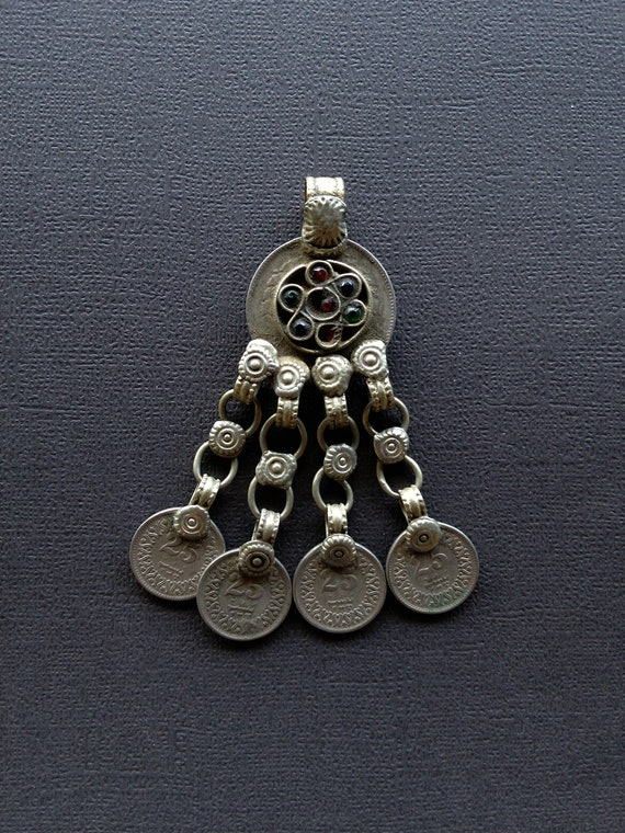 Tribal Pendant Coin Dangles DIY Vintage Jewelry Supplies (#6501)