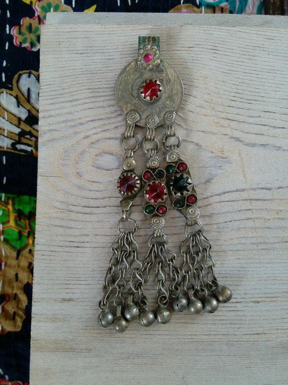 "Vintage Kuchi Tribal Jewelry Coin Pendant 5"" DIY Supplies (#7253)"