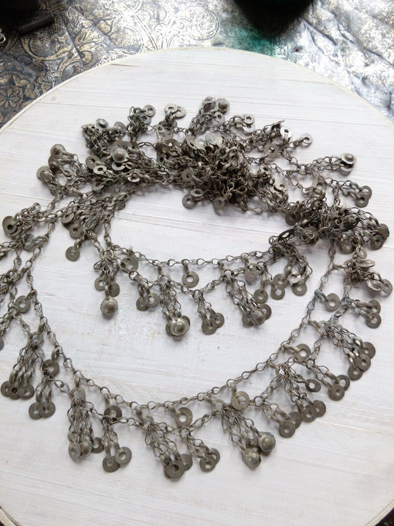 "Pretty Vintage Tribal Jewelry Chain Multi-Tiered 51"" x 2"""