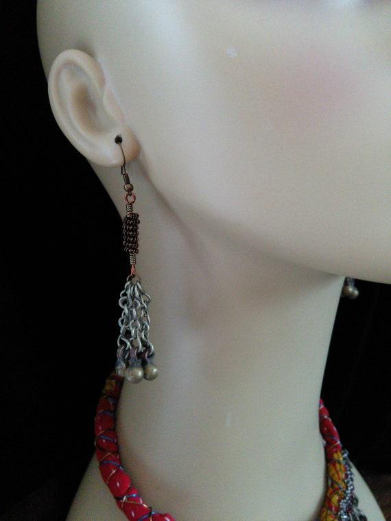 "Tribal Earrings Jingling Eclectic Boho Jewelry 3.25"" Long"