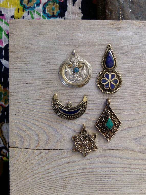 Mixed Set of 5x Jewelry Components Unique Tribal Findings for DIY (#7359)