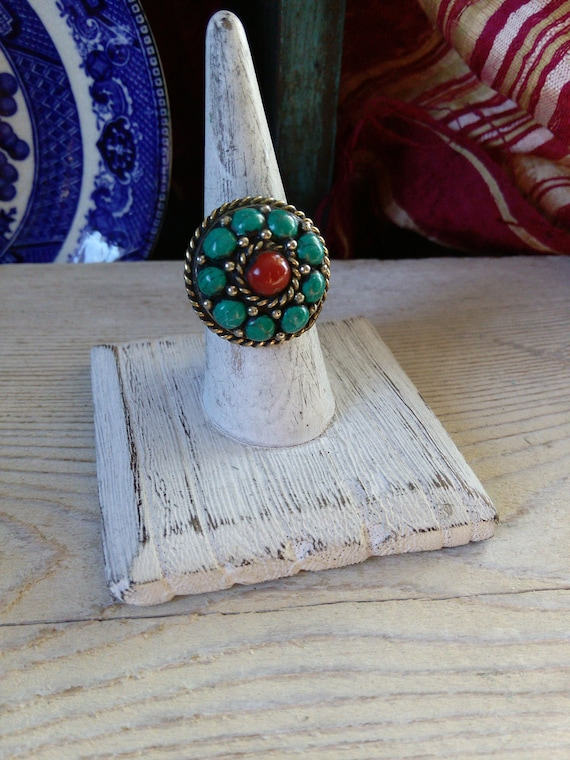 Nepalese Flower Ring Granulation Turquoise and Coral 7.75 US (#7396)