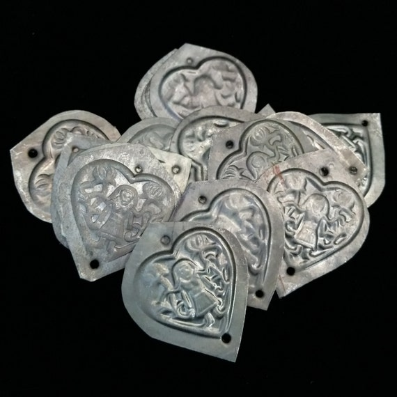 Heart Amulets Tribal Medallions Stylized Afghan Figurative Motif