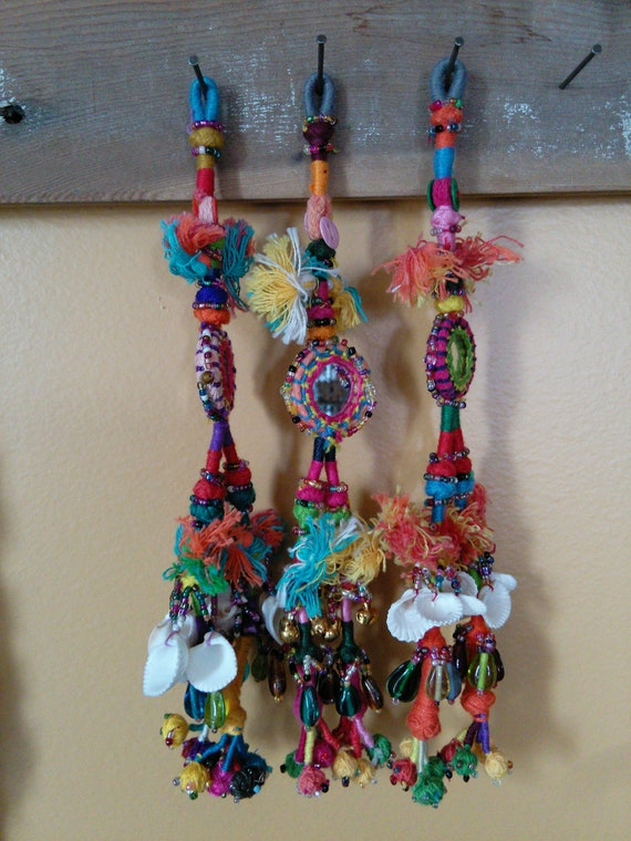 Trio of Colorful Banjara Tassels Shisha Mirrors Bright DIY Bohemian Craft Swag (#7434)