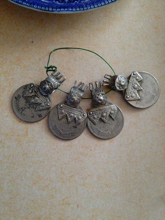 Vintage Balochi Coin Pendants with Unique Markings and Bail 4x (#7341)