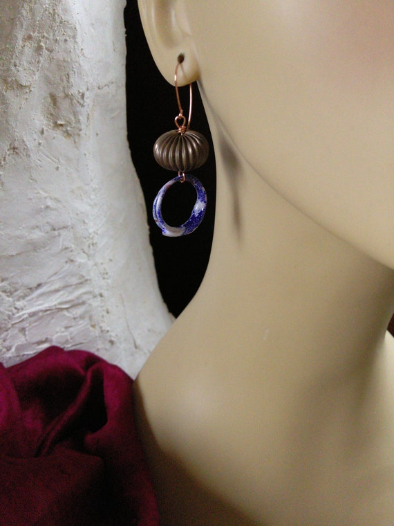 Blue White Brass and Copper Torch Fired Enamel Earrings (#6930)