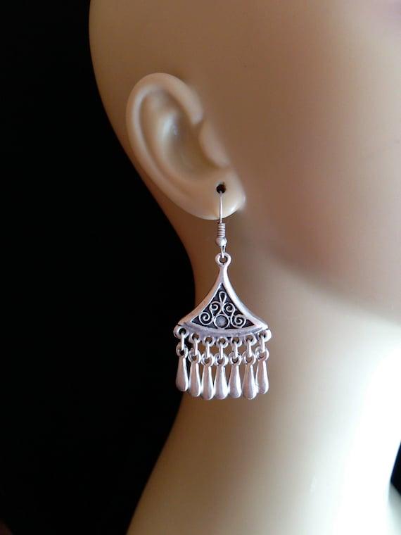 "Boho Droplet Earrings Silver Plated Turkish Jewelry 2.12"""