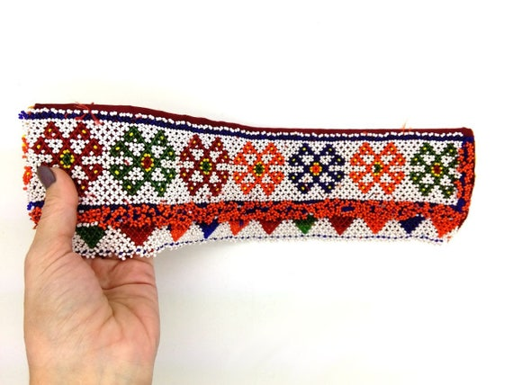 Beaded Tribal Headdress Base Kuchi Textile Applique Fusion ATS Belt Accent 13""