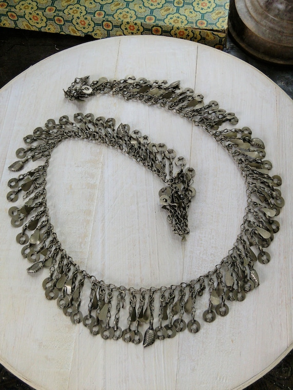 """Vintage Tribal Jewelry Chain 31"""" by 1.75"""" Missing 2 Dangles (#6888)"""