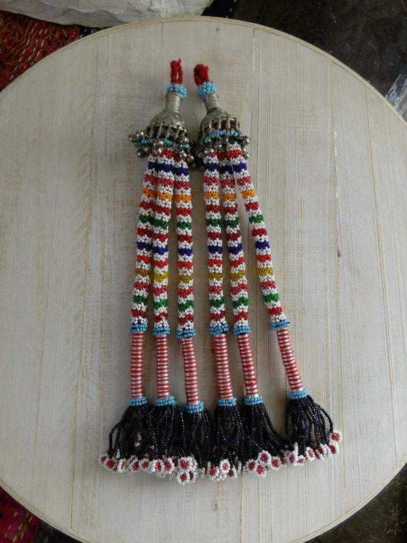 """Pair of Beaded Baloch Tribal Tassels Unique Ethnic Adornment 12"""" Long (#7433)"""