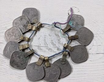 "11 Diamond Shape Vintage Kuchi Tribal Coins 1.25"" x 1"" (#9177)"
