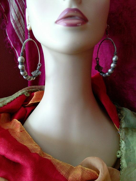 Tribal Hoops BIG Earrings Heavy Vintage Jewelry Refurbished (#7246)