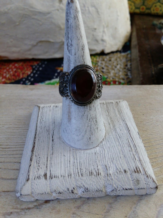 Silver Plated Afghan Ring Reddish Brown Glass Size 8.5 US (#7377)
