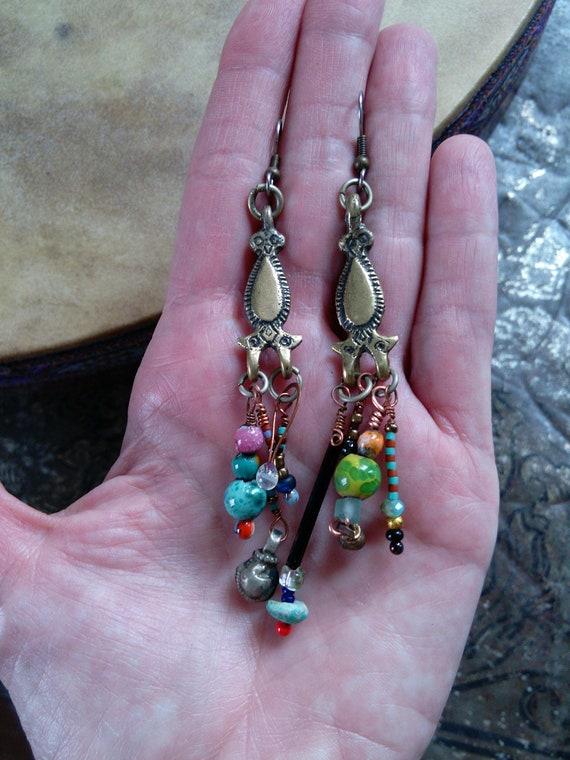 Artisan Earrings Tribal Findings Handmade Beads (#6724)
