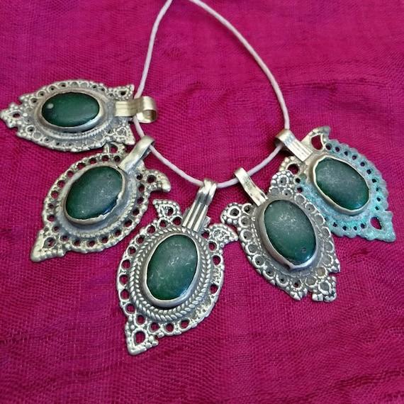 Set of 5 Vintage Waziri Tribal Pendants GREEN
