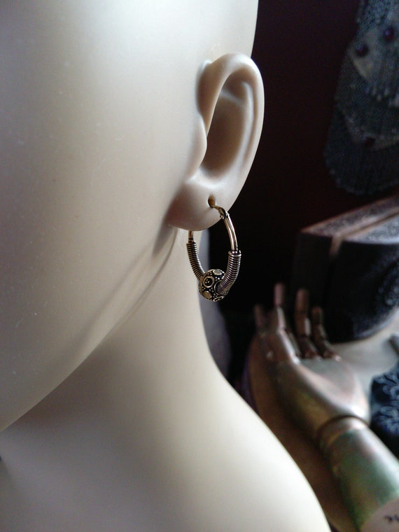 "Small Boho Chic Brass Hoops .9"" (#7048)"
