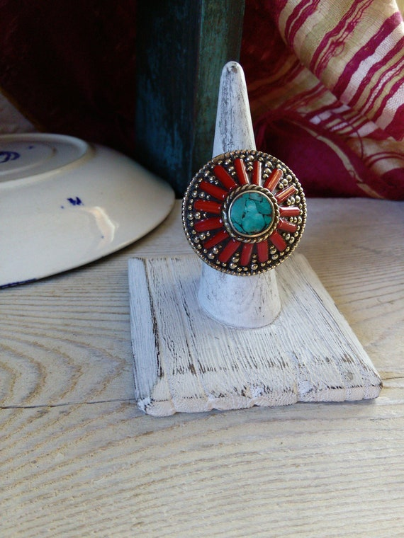 Nepalese Coral and Turquoise Ring Nepal Ethnic Jewelry Size 7.5 (#7394)