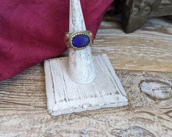 Kuchi Tribal Ring Cobalt Blue Glass 8.75 US (#9173)