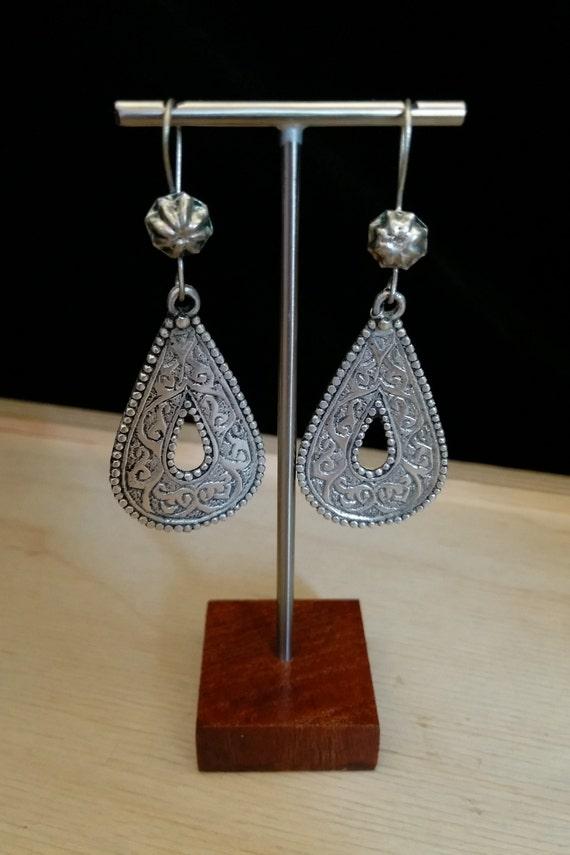 "Boho Tribal Earrings 2.5"" Traditional Afghan Motifs"