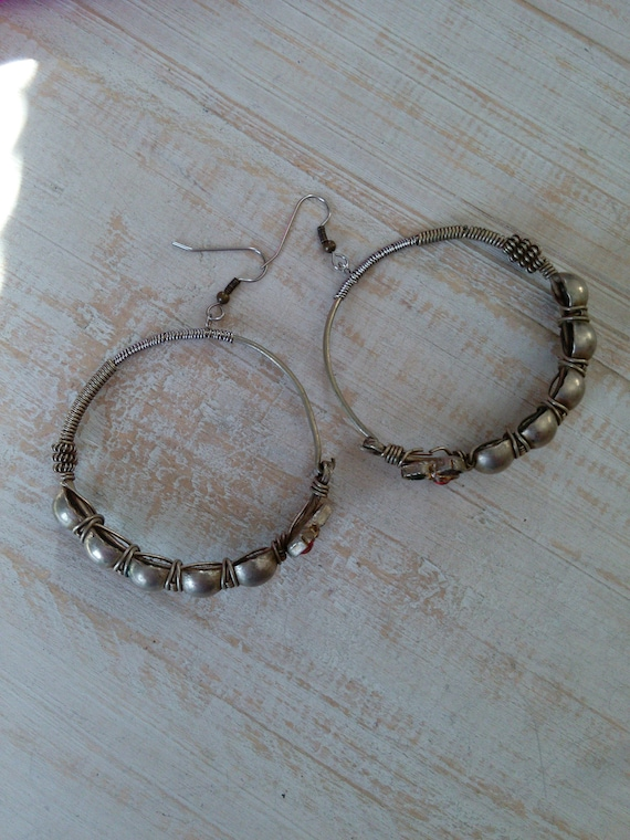 Tribal Hoop Earrings A Little Heavy Vintage Jewelry Refurbished (#7247)