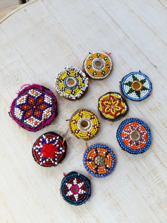 Kuchi Tribal Medallions Gul Patches 10 Pieces Mixed (#6548)