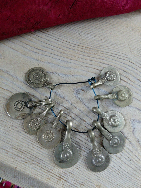 Vintage Kuchi Flower Charms Tribal Findings Unique Well-Traveled Set of 10 (#7268)