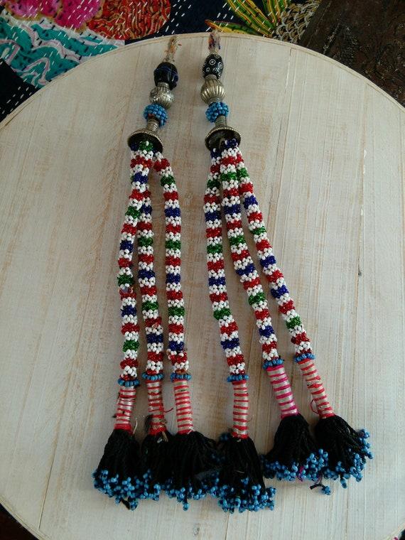 "Pair of Beaded Baluchi Tribal Tassels Ethnic Adornment 12"" Long (#7421)"