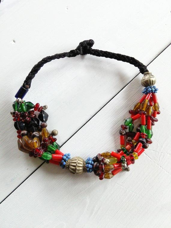 Colorful Baloch Bead Choker Unique Tribal Jewelry
