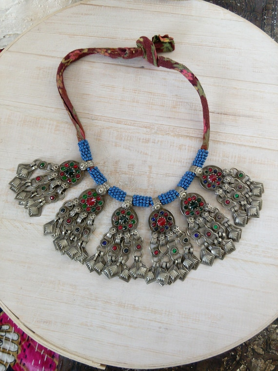 Kuchi Tribal Necklace with Vintage Coin Pendants Hamsa Accents (#7435)