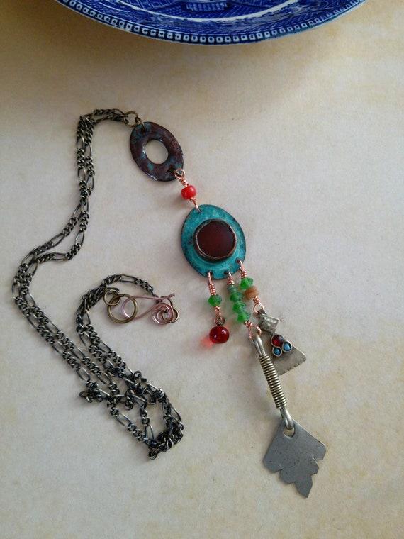 Rustic Blue Patina Copper Artisan Pendant Necklace Carnelian Cabochon (#7331)