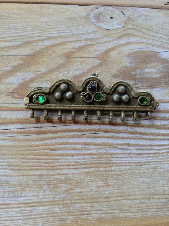 Vintage Kashmiri Barrette Hair Jewelry Missing Dangles (#6551)