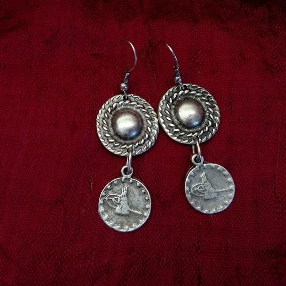 "Boho Turkish Tughra Earrings 2.25"""