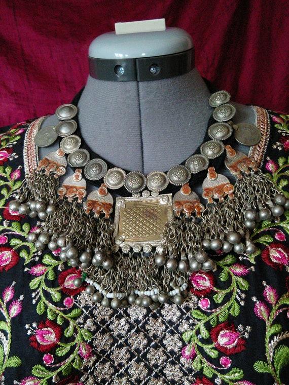 "Heavy Tribal Necklace Vintage Kashmiri Pendant 18.5"""