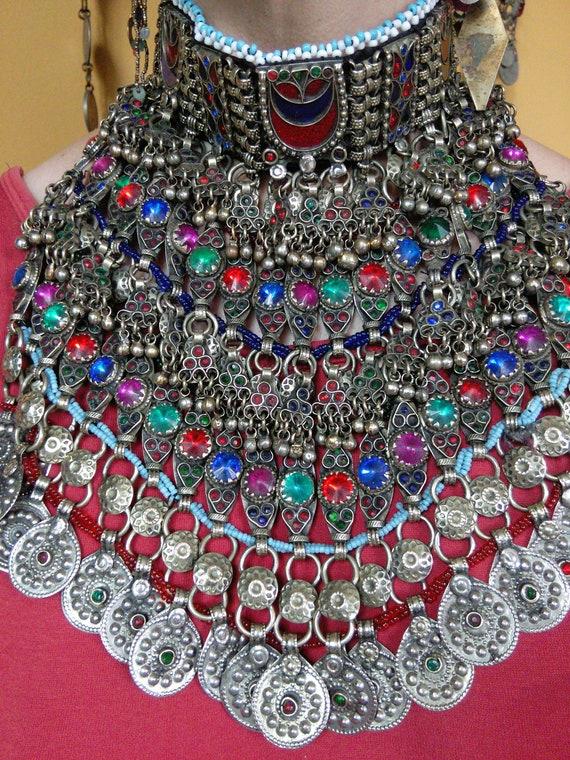 Vintage Kuchi Tribal Choker Crescent Moon HEAVY Jewelry (#6569)