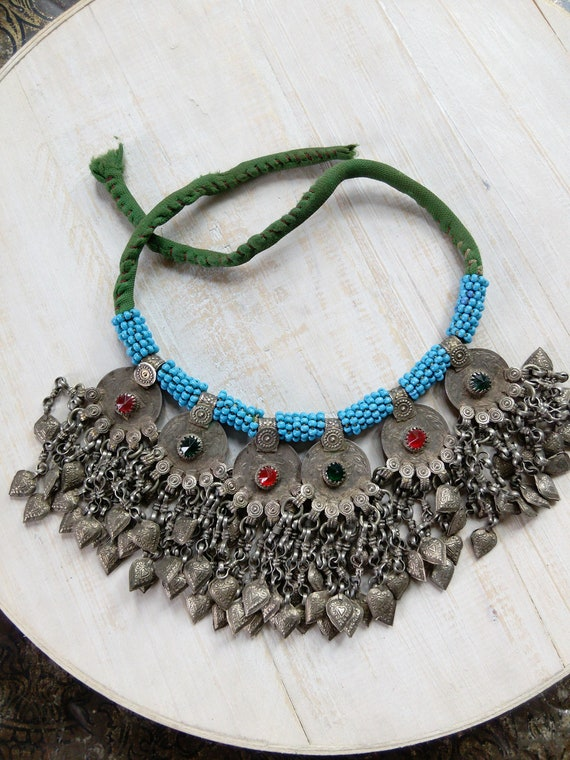 Balochistan Necklace Vintage Tribal Jewelry with Hearts (#6561)