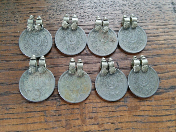 Vintage Tribal Coins Unique Bail Old Findings 8x (#6376)
