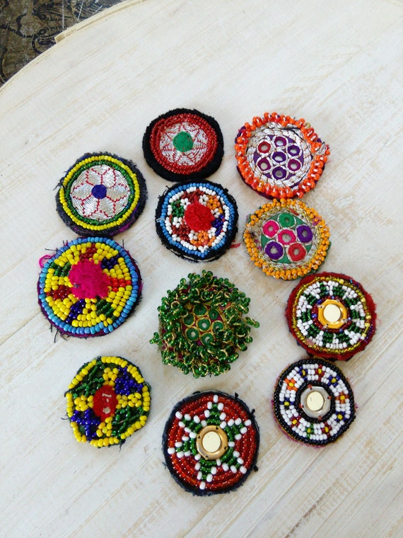 Kuchi Tribal Medallions Gul Patches 11 Pieces Mixed (#6508)